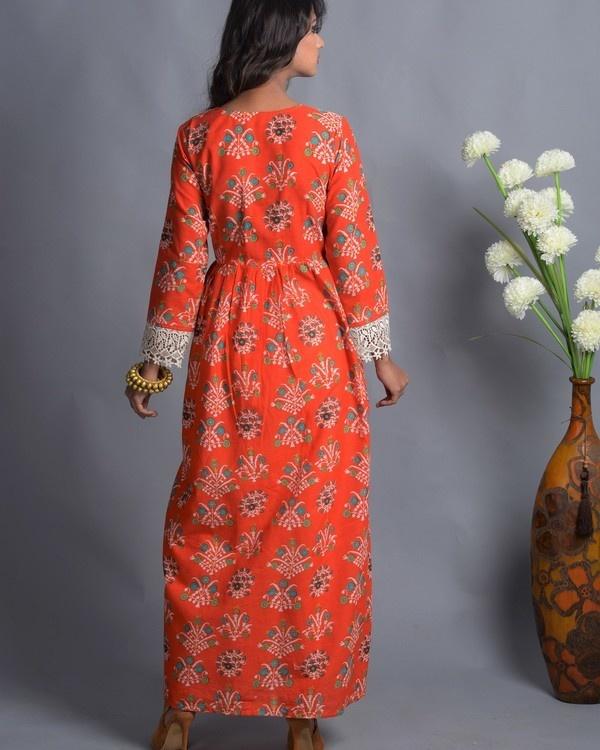 Orange crochet slit kurta with white palazzo 2