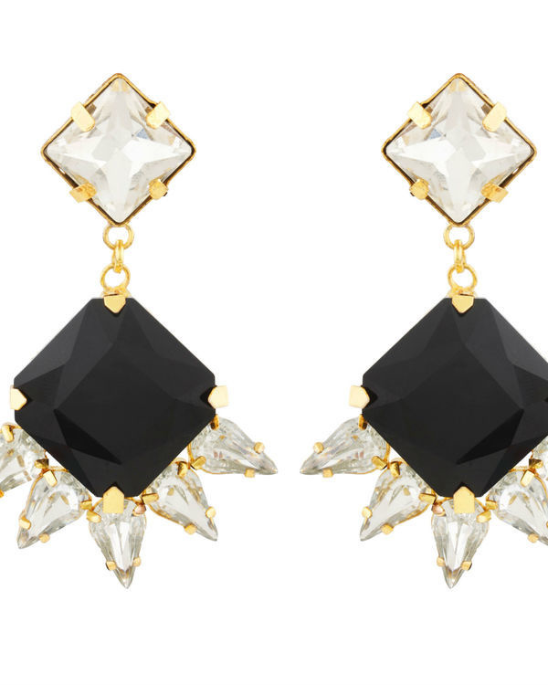 Art Deco Black Crystal Drop Earrings 1