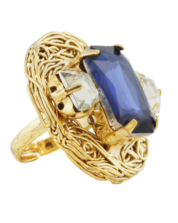 Blue and Gold Mesh Ring 2