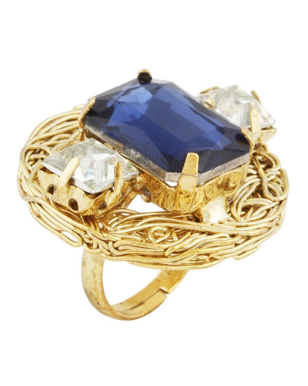 Blue and Gold Mesh Ring 1