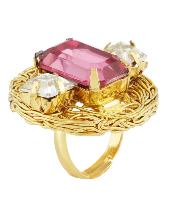 Pink and Gold Mesh Ring 1