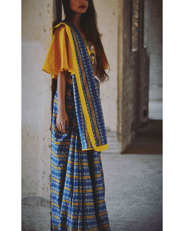 Mustard and blue line saree 2