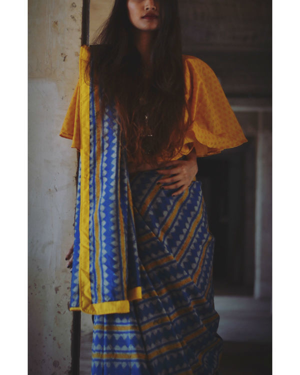 Mustard and blue line saree 1