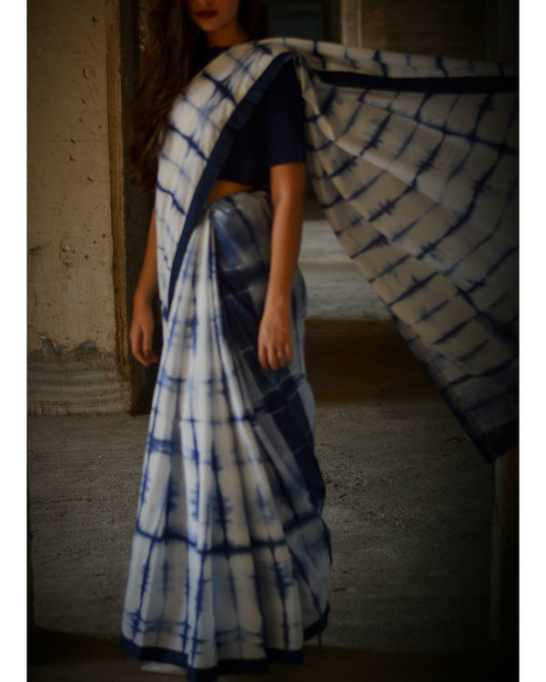 Navy blue tie and dye saree 1