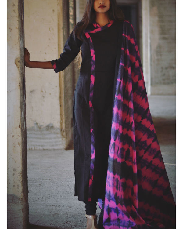 Magenta and violet tie and dye kurta and dupatta set 2
