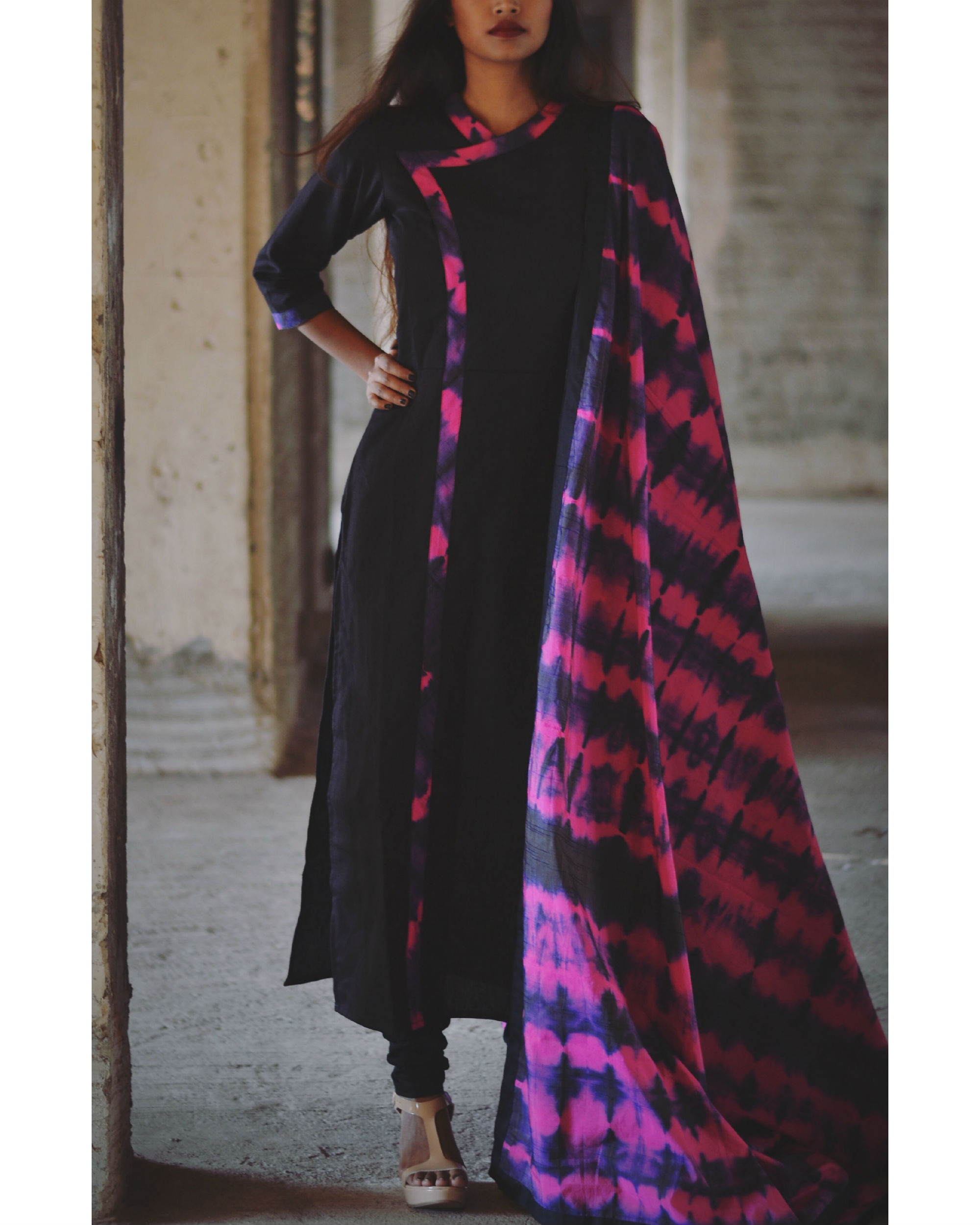 5b3c3c5061 Magenta and violet tie and dye kurta and dupatta set by Tie   Dye ...