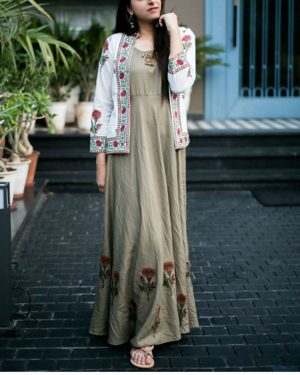 Khakhi green maxi with block printed jacket 2