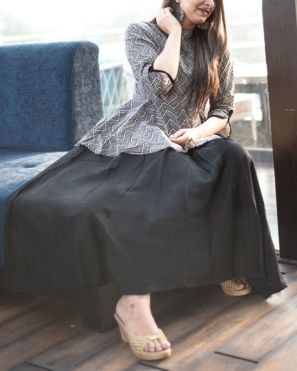 Black and off-white peplum dress 1