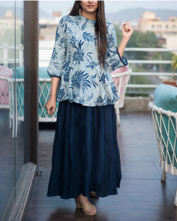 Indigo blue peplum dress 1