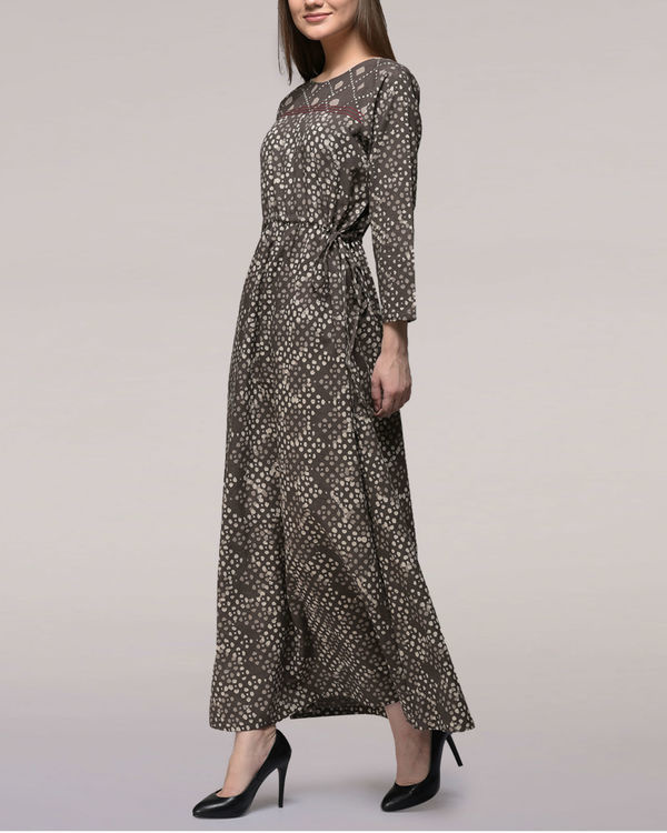 Ash black tie-up waist dabu-printed cotton dress 3