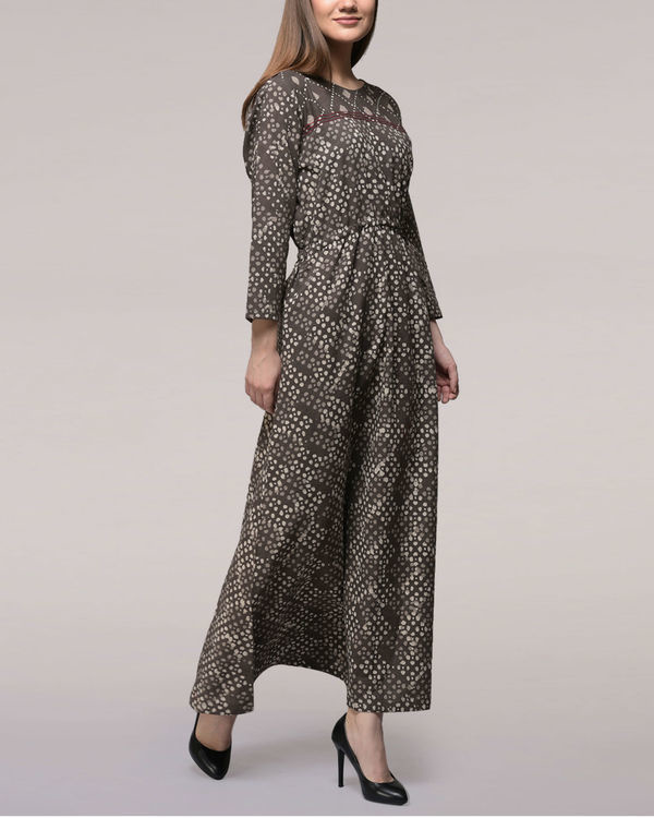 Ash black tie-up waist dabu-printed cotton dress 2
