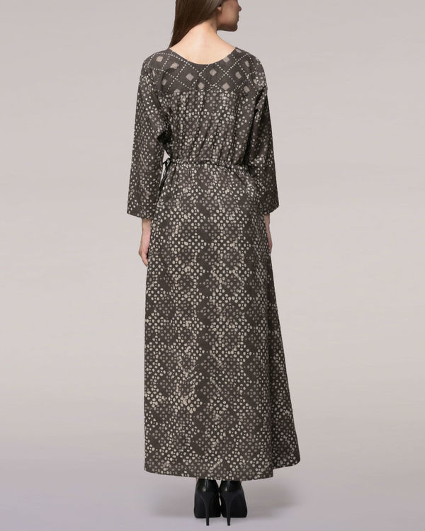 Ash black tie-up waist dabu-printed cotton dress 1