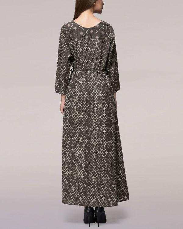 Ash black tie-up waist dabu-printed cotton dress 3