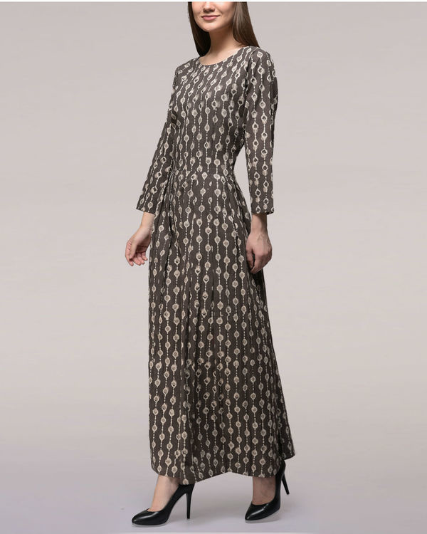Ash black pleated dabu-printed cotton dress 3