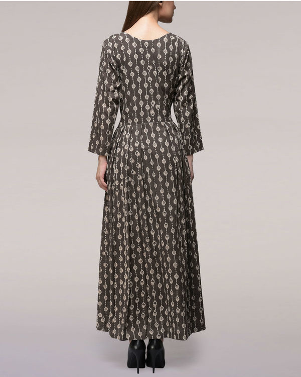 Ash black pleated dabu-printed cotton dress 1