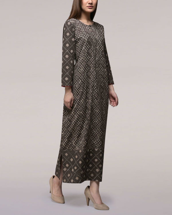 Ash black dabu-printed cotton patch dress 1