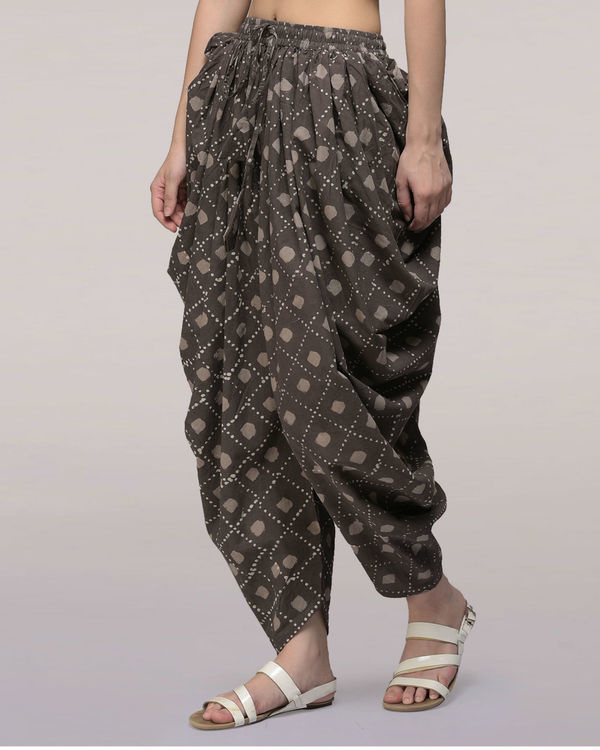 Ash black elasticated waist cotton dhoti pants 3
