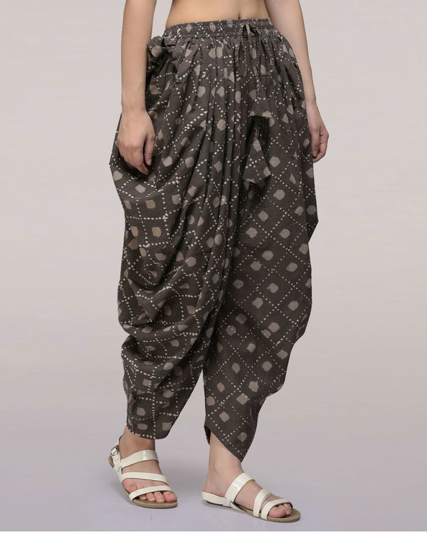 Ash black elasticated waist cotton dhoti pants 2