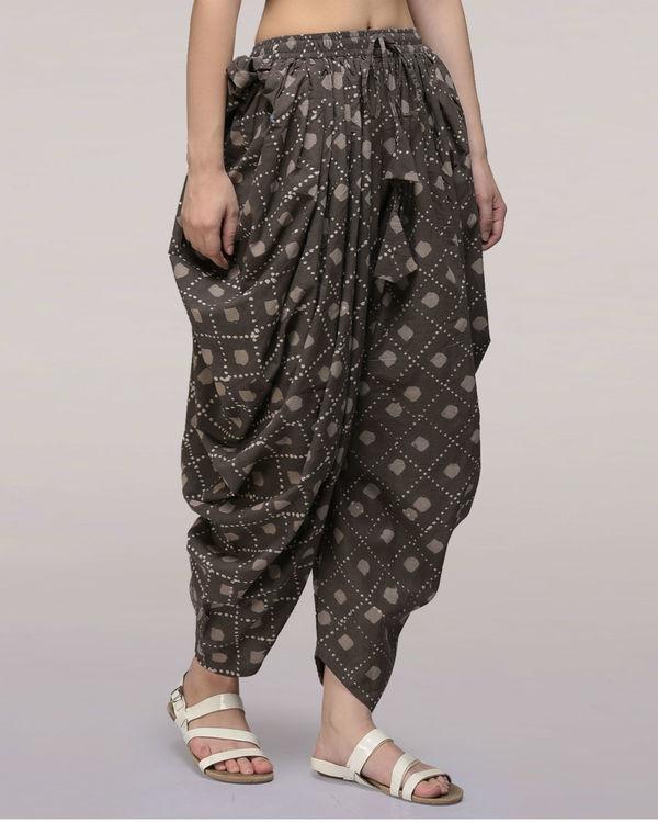 Ash black elasticated waist cotton dhoti pants 2