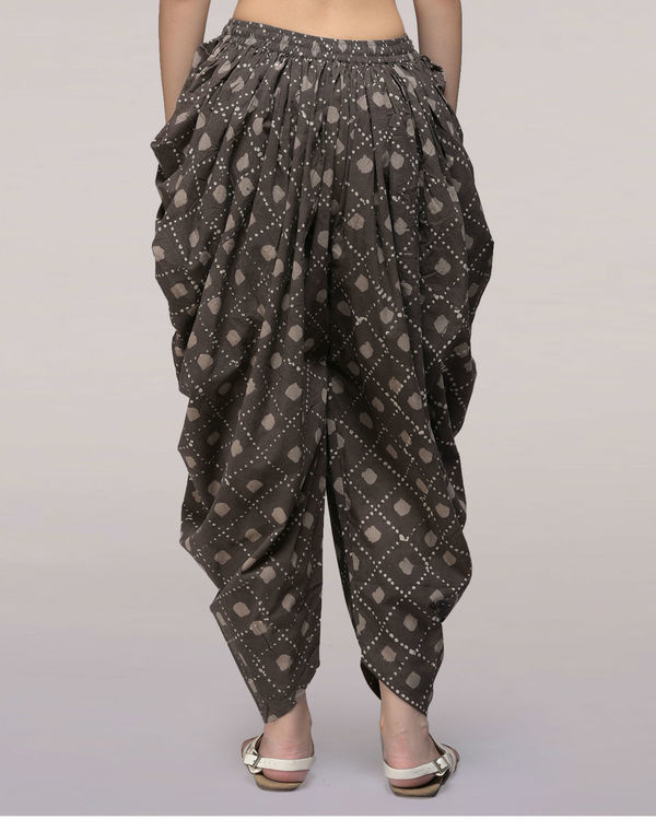 Ash black elasticated waist cotton dhoti pants 1