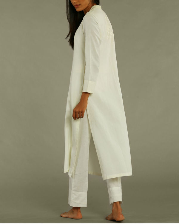 Off-white tunic with textured yoke 2