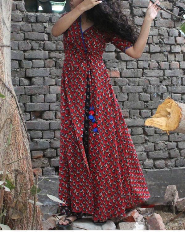 Brick red wrap dress 2
