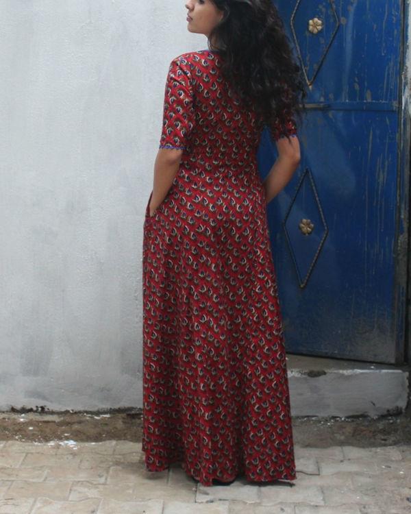 Brick red wrap dress 1