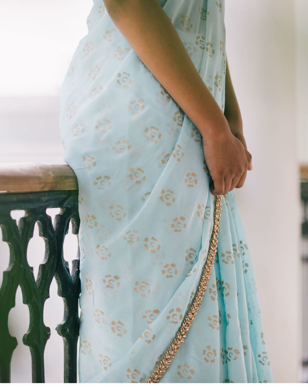 Celestial blue and gold sari 2