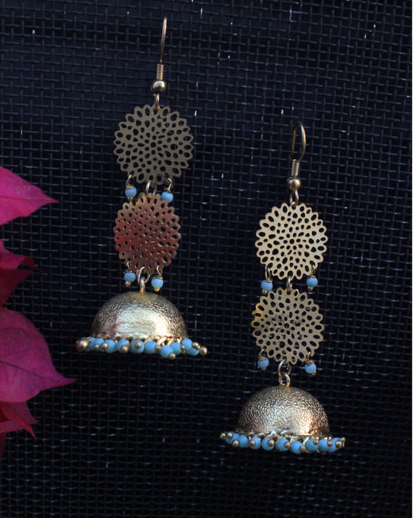 Sohaila turquoise filigree jhumki 1
