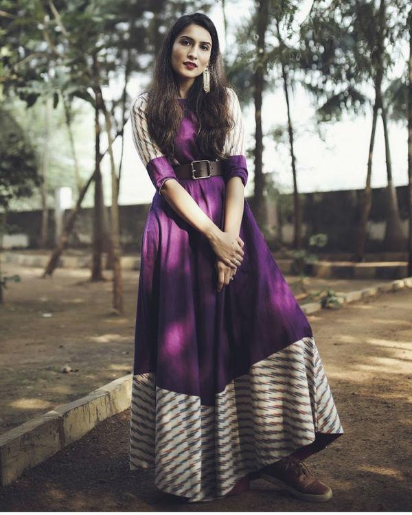 Purple and white striped dress 1