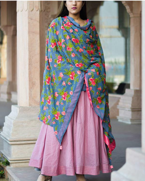 Rose pink anarkali dress with floral dupatta 3