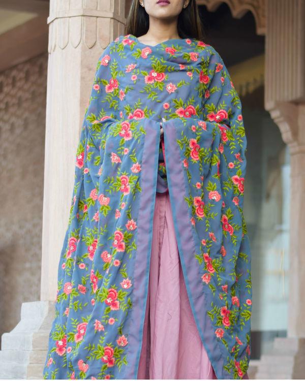 Rose pink anarkali dress with floral dupatta 2