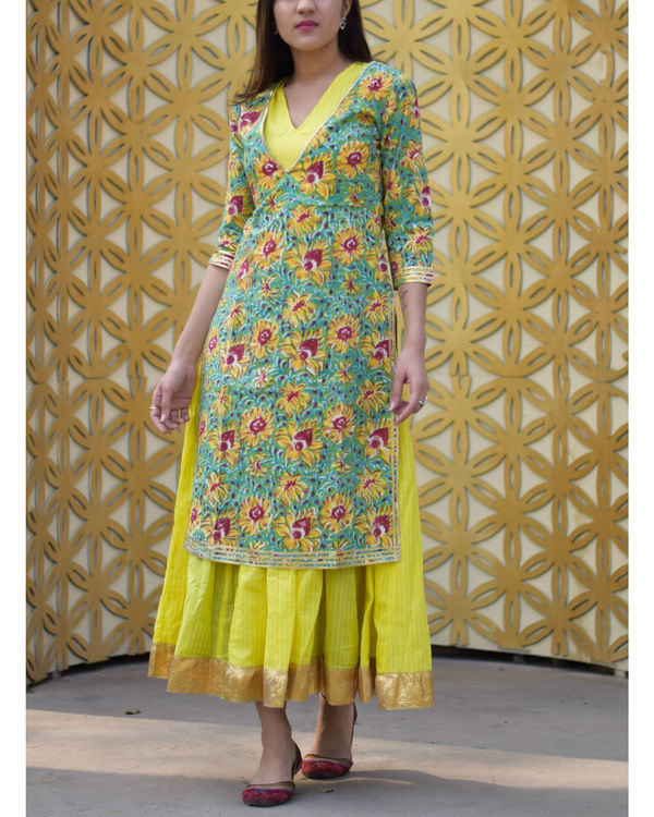 Yellow floral double layered dress 2