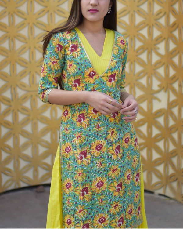 Yellow floral double layered dress 1