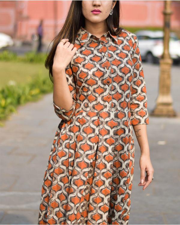 Orange and beige flared dress 1