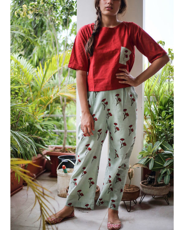 Opium poppy pants with berry red top 2