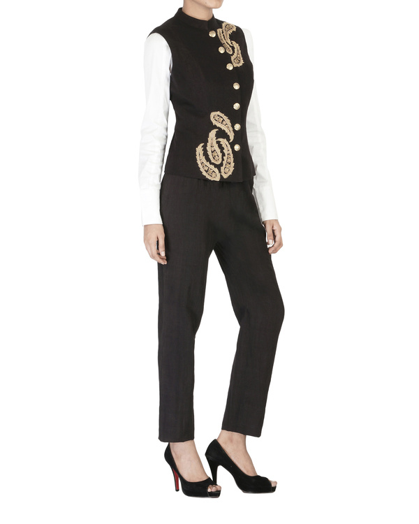 Black embroidered bandhgala jacket 2