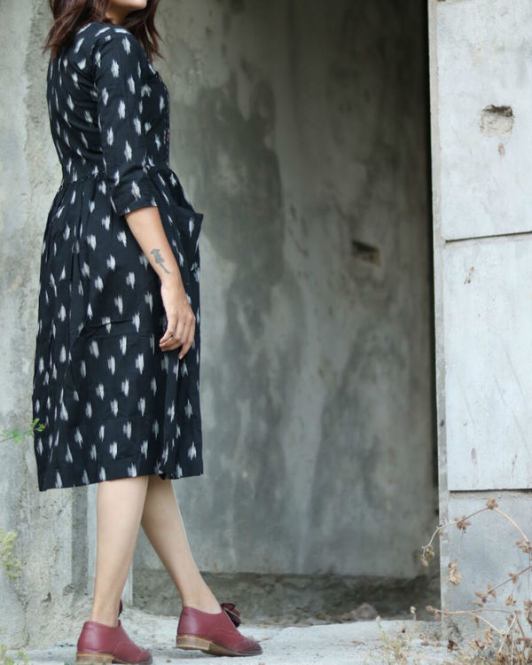 Black and white hand woven ikat dress 2
