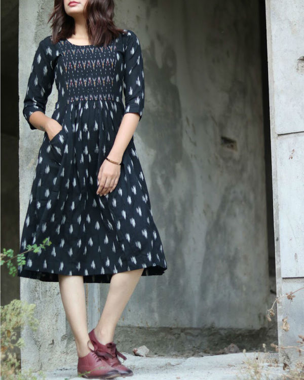 Black and white hand woven ikat dress 1