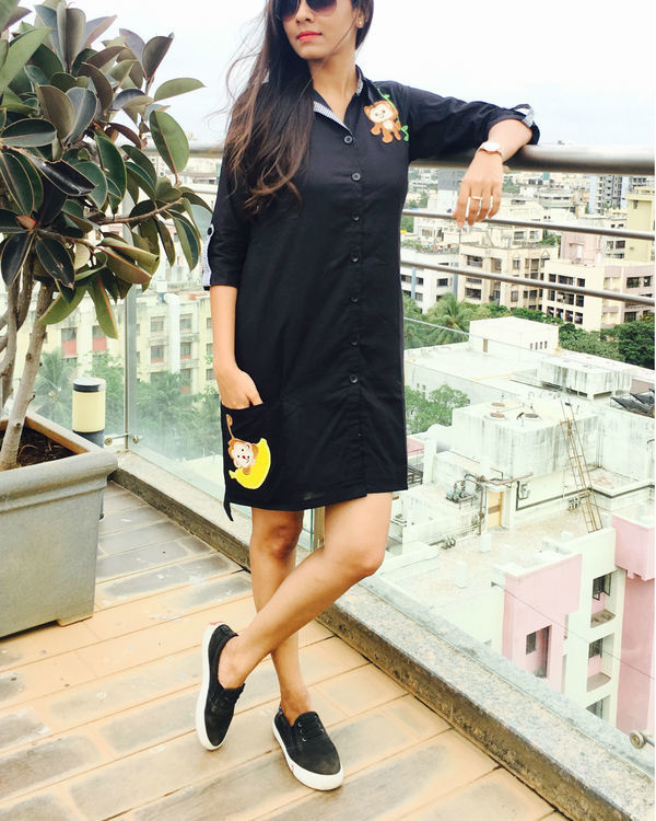 Black applique shirt dress 1