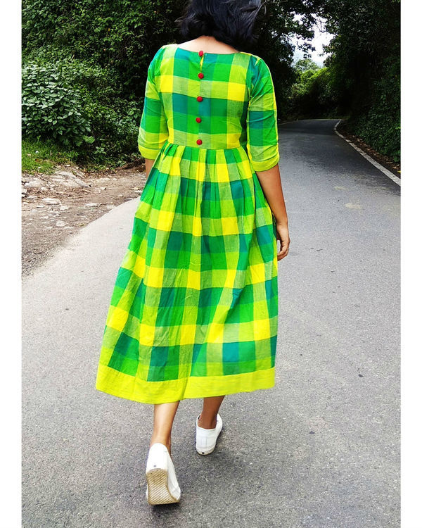 Green and yellow checks cotton dress 1