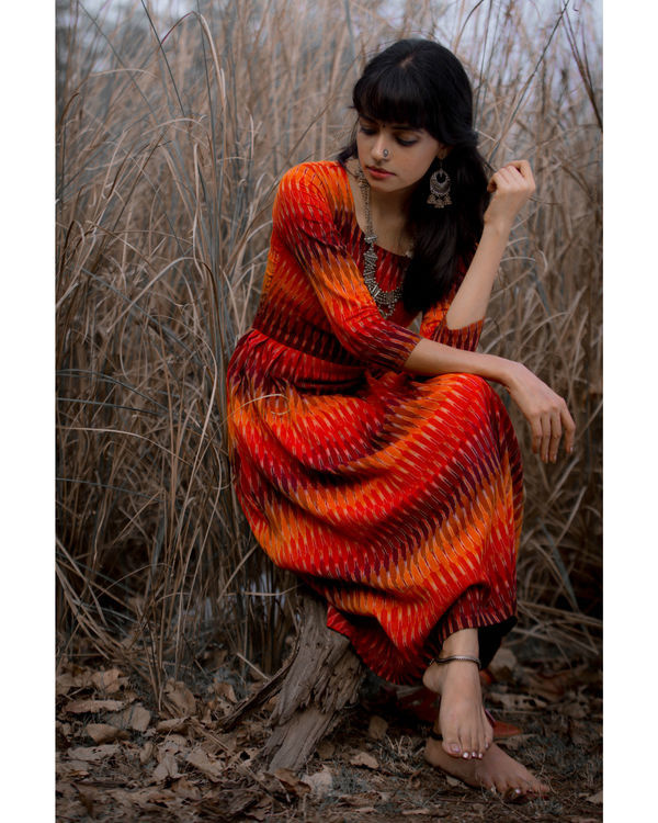 Sunset hand woven ikat dress 1