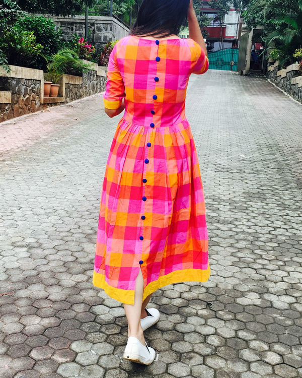 Pink and yellow checks cotton dress 2