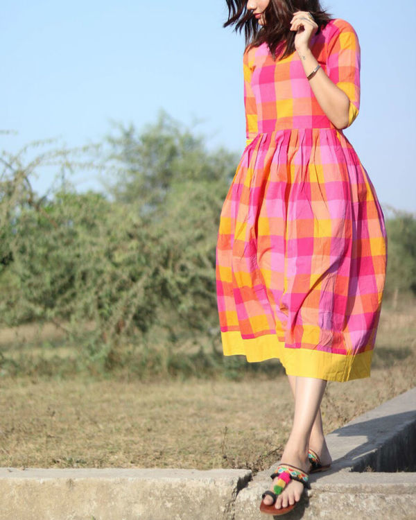 Pink and yellow checks cotton dress 1