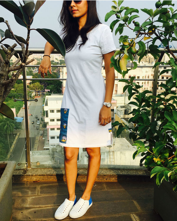 White t-shirt dress with pocket 1