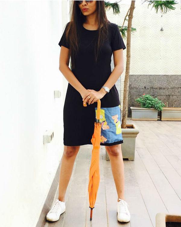 Black t-shirt dress with pocket 1