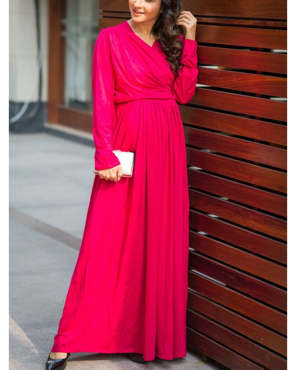 Royal carnation maternity & nursing lycra wrap dress 3