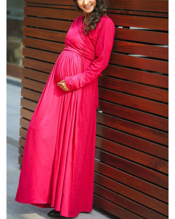 Royal carnation maternity & nursing lycra wrap dress 2