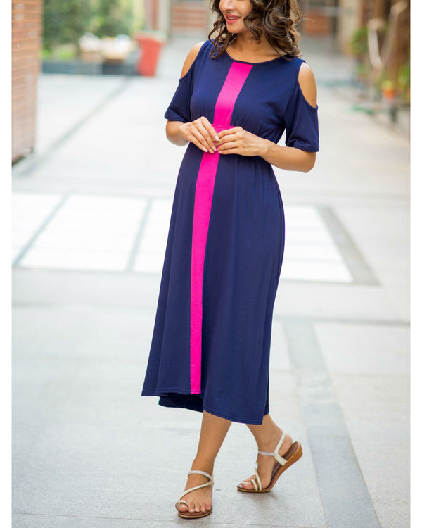 Midnight blue cold shoulder stretchable maternity dress 1