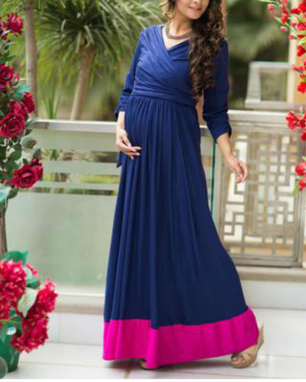 Blue contrast front wrap maternity & nursing dress 2
